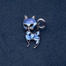 Брошь Кошка с голубым камнем 7960