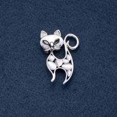 Брошь Кошка с белым камнем 7961