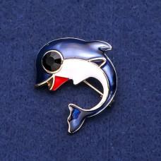 Брошь дельфин с синей эмалью 8180