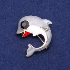 Брошь дельфин с серой эмалью 8181