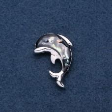 Брошь дельфин с черной эмалью 8183