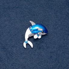 Брошь дельфин с эмалью 8185