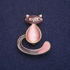 Брошь Кошка коричнево-розовая 7752