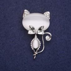 Брошь Кошка белая 7753