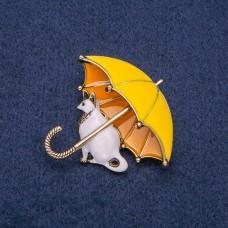 Брошь Кошка с зонтом 8269