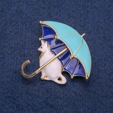 Брошь Кошка с зонтом 8270