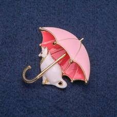 Брошь Кошка с зонтом 8271