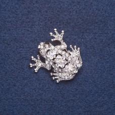 Брошь Лягушка с цветком 8134