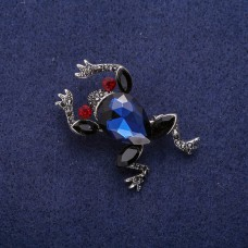 Брошь Лягушка синяя 8137