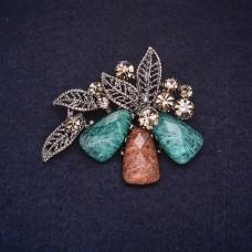 Брошь Цветок коричнево-зеленый 8302