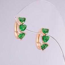 Серьги Xuping с зеленым камнем 2886