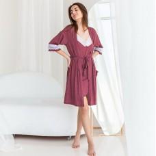 Сорочка женская c халатом бордовая 6279